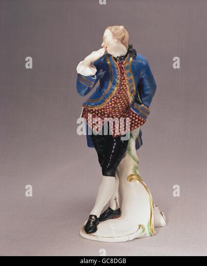 fine arts, porcelain, figures, Octavio, Franz Anton Bustelli, Nymphenburg Porcelain Manufactory, circa 1760, Bavarian - Stock Image