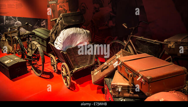 Belongings of fugitives / refugees fleeing from German occupation in Bastogne War Museum about WW2, Belgian Ardennes, - Stock Image