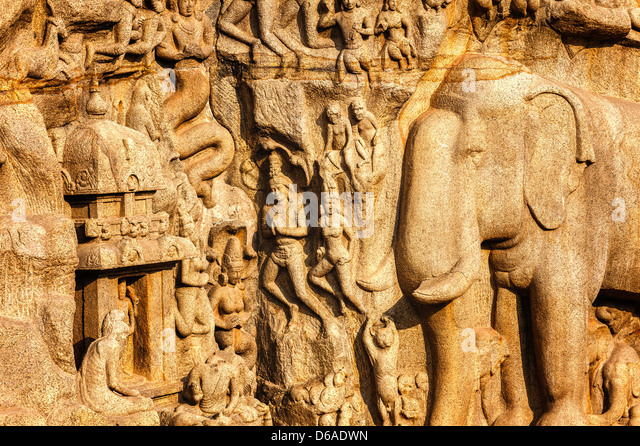 Mythological Hindu figures, animals, and other religious monolithic carvings dating back to 7th century at Mamallapuram, - Stock Image