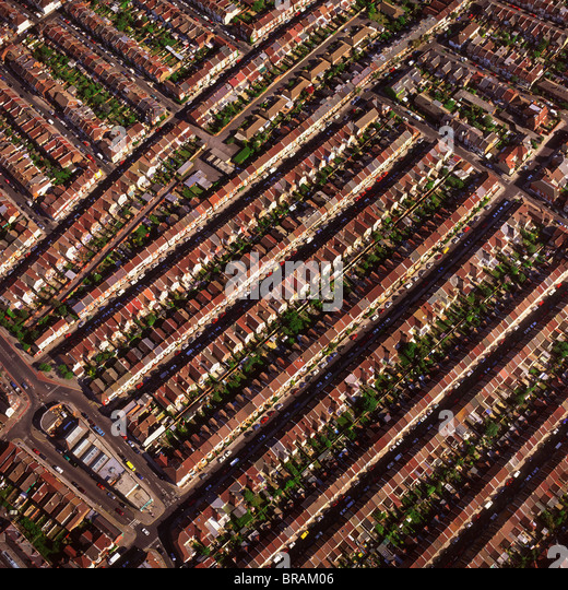 Aerial image of terraced housing, Portsmouth, Hampshire, England, United Kingdom, Europe - Stock-Bilder