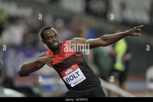 London, UK. 22nd July, 2016. Usain Bolt (JAM). Mens 200m. Anniversary Games. London Diamond League. Olympic Stadium. - Stock Image