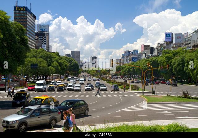 Avenida 9 de Julio in Buenos Aires, Argentina. - Stock Image