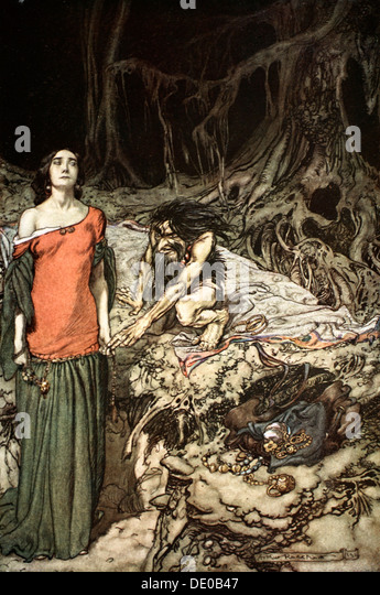 'The wooing of Grimhilde, the mother of Hagen', 1924.  Artist: Arthur Rackham - Stock Image