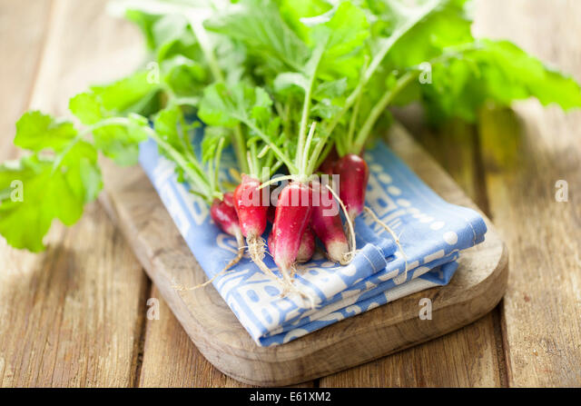 French Breakfast Radishes on Board - Stock-Bilder
