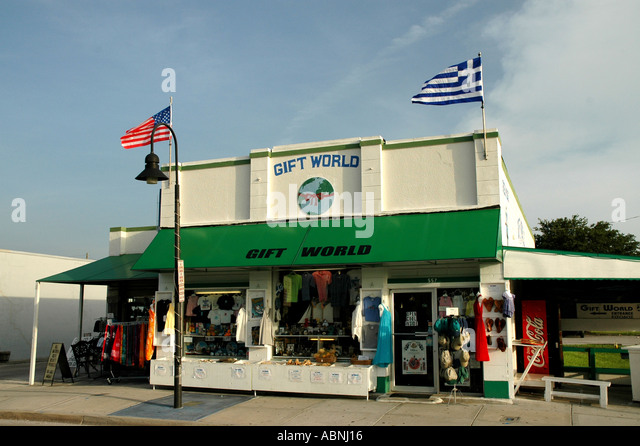 Tarpon Springs Florida Gift World in old building - Stock Image
