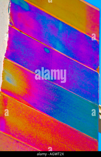 Colorful abstract wall panels - Stock Image