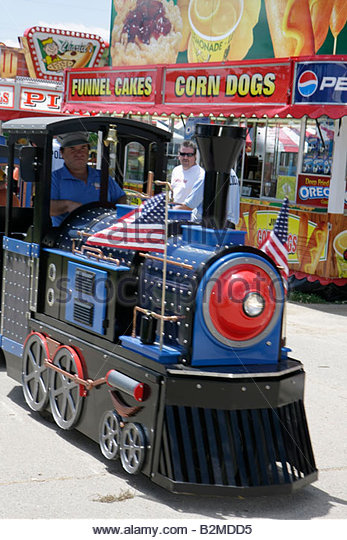 Wisconsin Kenosha Kenosha County Fairgrounds The Ultimate Kid Fest family event kid's train ride carnival - Stock Image