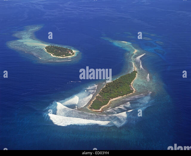 Aerial view of Islands, Kaafu Atoll, Republic of Maldives - Stock-Bilder
