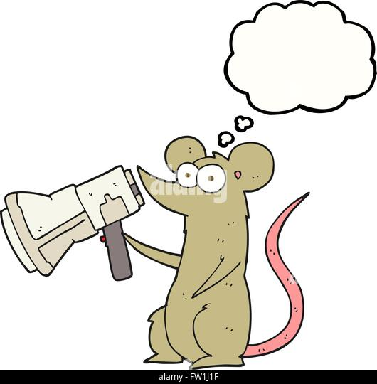 freehand drawn thought bubble cartoon mouse with megaphone - Stock-Bilder