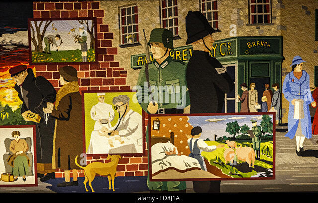 Part of the Occupation Tapestry, St Helier, Jersey, Channel Islands, UK - Stock Image
