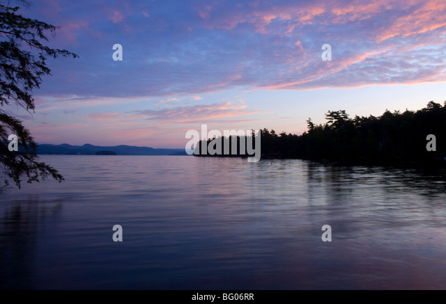 A view toward Dome Island at sunrise, Lake George, New York State, United States of America, North America - Stock Image