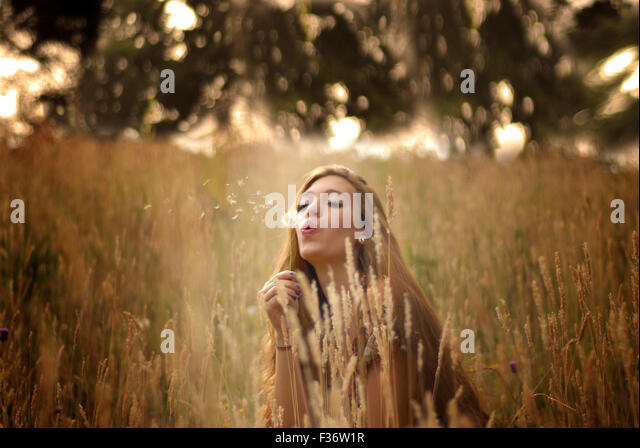 Lovely girl in the fields blowing a dandelion - Stock Image
