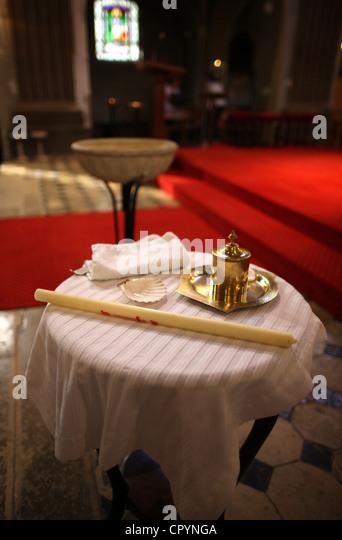 Baptism in a Catholic church, France, Europe - Stock-Bilder
