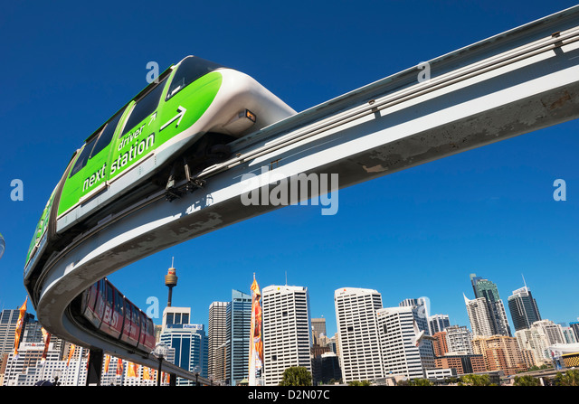 Monorail in Darling Harbour, Sydney, New South Wales, Australia, Pacific - Stock Image