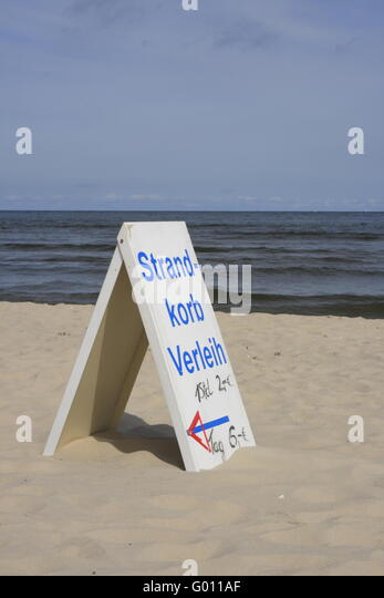 Rental sign for beach chairs at the beach of Usedom, Baltic Sea - Stock Image