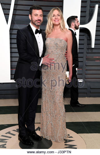 File photo dated 26/02/17 of Jimmy Kimmel and Molly McNearney. The US chat show host struggled to fight back tears - Stock Image