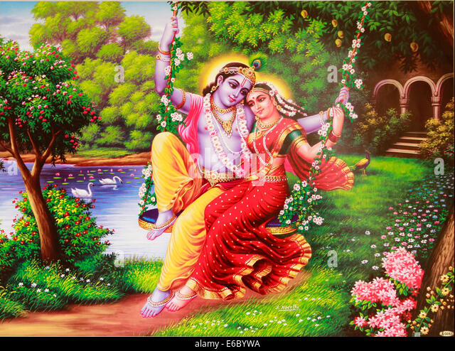 Painting of hindu god Krishna and Radha on a swing - Stock Image