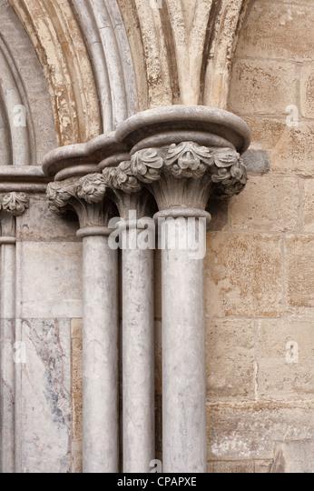 Stone mason carving religious statue stock photos