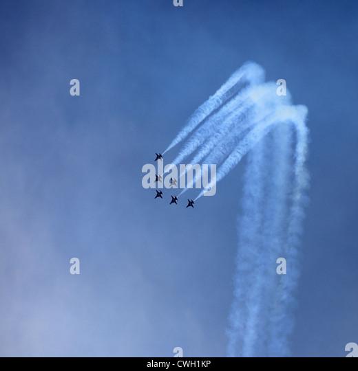 formation flight,vapor trail,aerobatic,air show - Stock Image