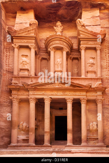 Al Khazneh - the treasury of Petra ancient city, Jordan - Stock Image