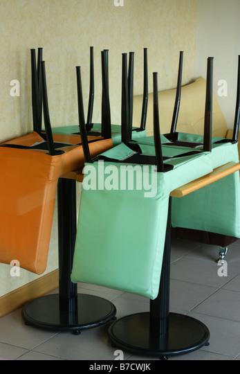 Upside Down Chairs On Table Stock Photos Amp Upside Down