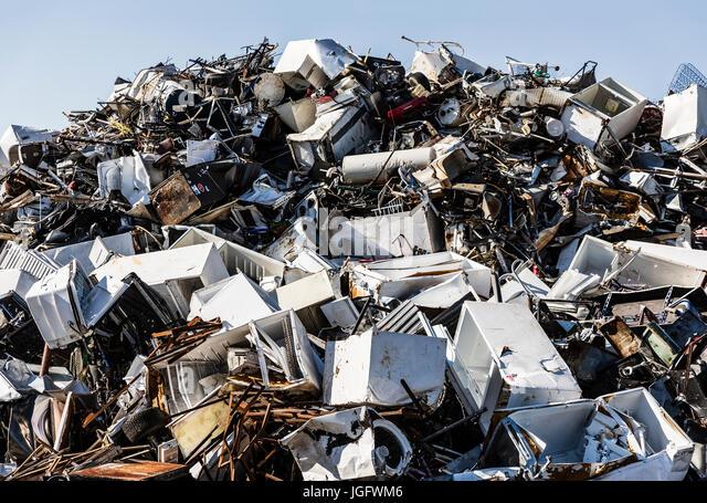 Scrap metal recycling facility. - Stock Image