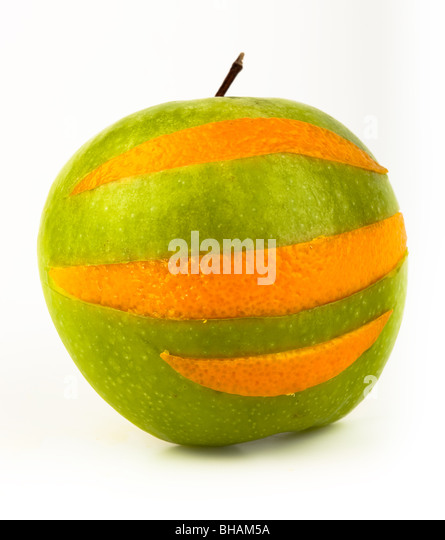 Ripe juicy fruit on a white background. Cut Out - Stock Image