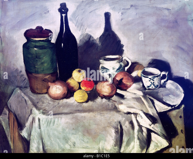 "fine arts, Cezanne, Paul, (19.1.1893 - 22.10.1906), painting, ""Still Life with Fruits and Dishes"", around - Stock Image"