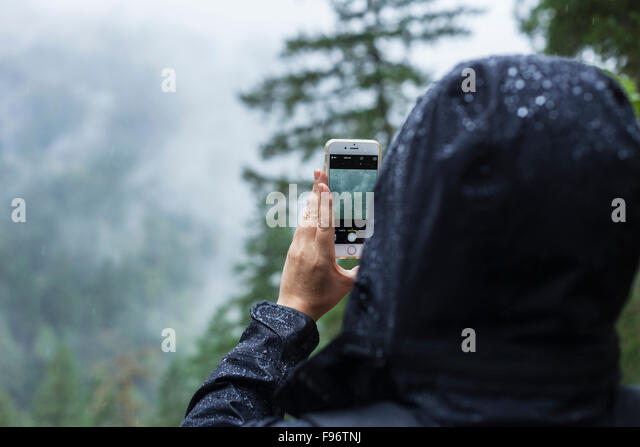 Woman taking photograph in the rain, BC, Canada - Stock-Bilder