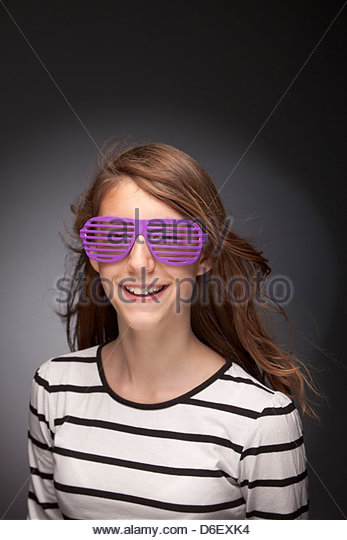 Girl teenager portrait sunglasses funny cool silly - Stock-Bilder