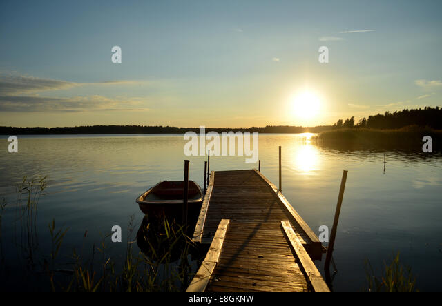 Saffle Lake at sunset, Sweden - Stock Image