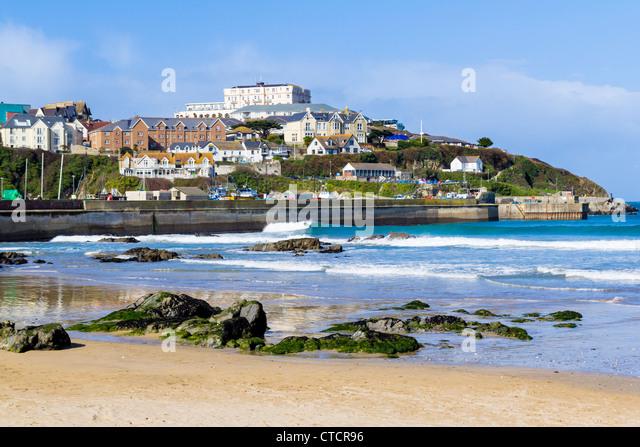 Towan Beach Newquay Cornwall England UK - Stock Image