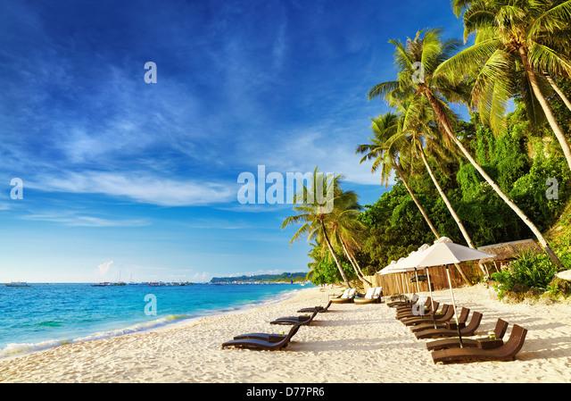 Tropical beach, Boracay island, Philippines - Stock Image