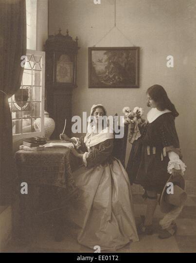 The Letter; Guido Rey, Italian, 1861 - 1935; 1908; Platinum print - Stock Image