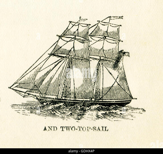 The vessel pictured in this 19th-century drawing is a schooner, specifically a two- top-sail. - Stock-Bilder