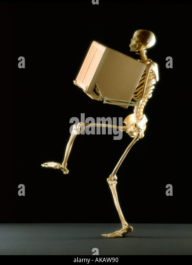 Skeleton lifting large box on black background - Stock Image