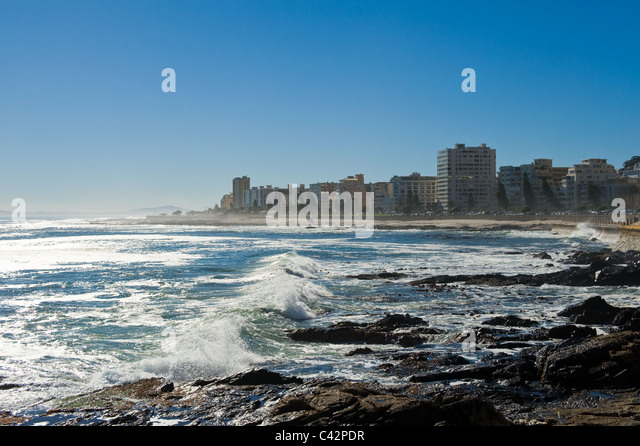 Sea Point beach front view from Beach Road, Cape Town, South Africa - Stock Image