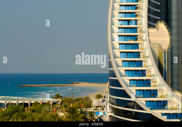 rooms with balcony, Jumeirah Beach Hotel, Dubai, United Arab Emirates - Stock Image