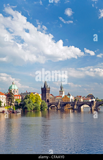 View of the River Vltava, Prague, Czech Republic - Stock-Bilder
