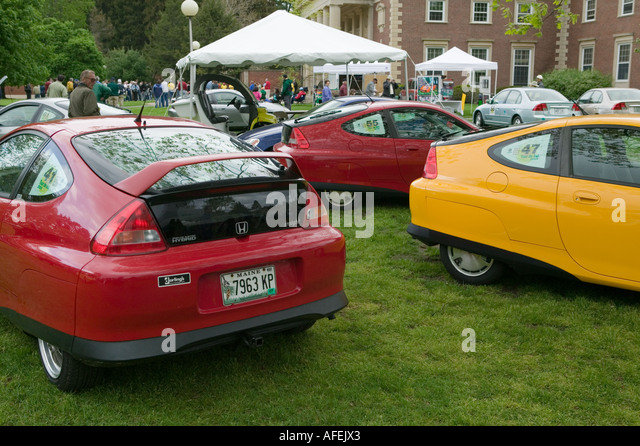 Hybrid cars at Tour de Sol Saratoga Springs New York - Stock Image