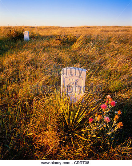 Markers for Lt. James Calhoun, and Lt. Crittenden on Calhoun Hill Little Bighorn Battlefield National Monument, - Stock Image