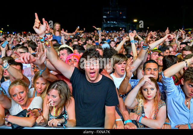 BENICASSIM, SPAIN - JULY 17: Crowd in a concert at FIB Festival on July 17, 2014 in Benicassim, Spain. - Stock Image