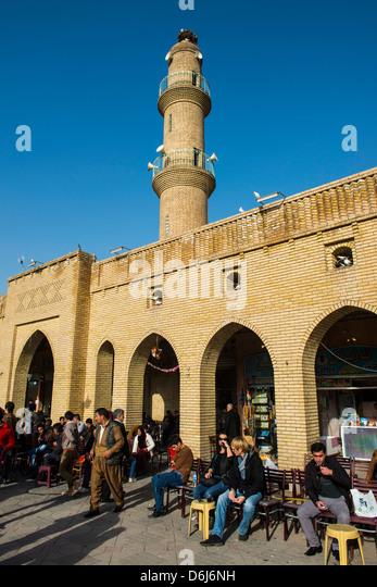 Huge square with below the citadel of Erbil (Hawler), capital of Iraq Kurdistan, Iraq, Middle East - Stock Image