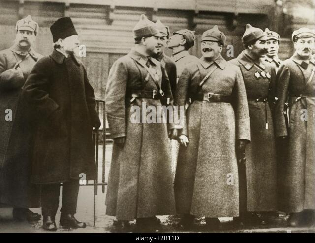 Celebration of the 10th Anniversary of the Russian Revolution in Moscow. Nov. 1928. Front row, Soviet leaders, L - Stock Image