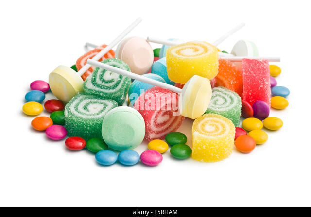 colorful candy on white background - Stock Image