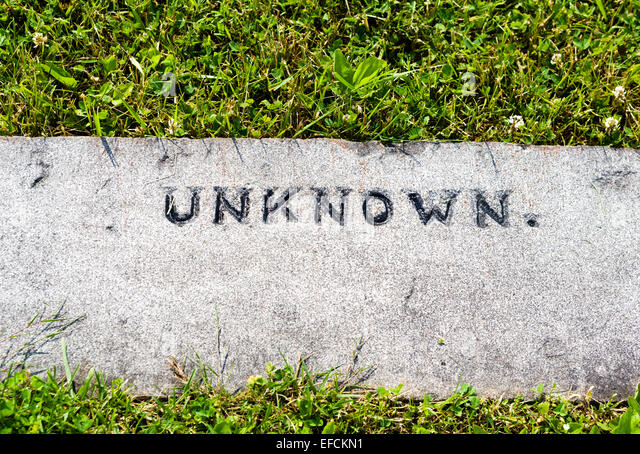 Grave marker to an unknown soldier, Soldiers' National Cemetery, Gettysburg National Militiary Park, Pennsylvania, - Stock Image