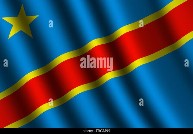 The Democratic Republic of the Congo flag - Stock-Bilder