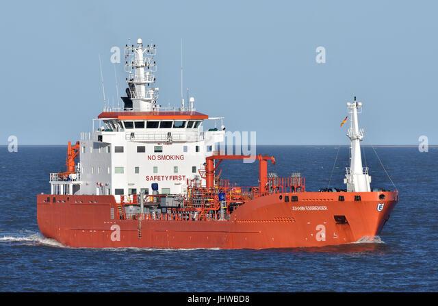 Tanker Johann Essberger off Cuxhaven - Stock Image