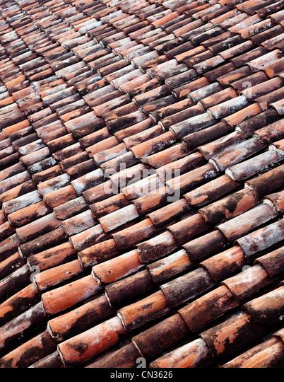Clay roof tiles, full frame - Stock Image