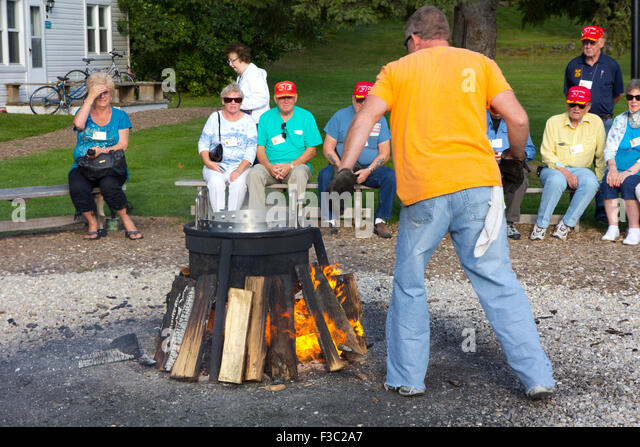 A fish boil at the Old Post Office Restaurant in Ephraim, Wisconsin - Stock Image